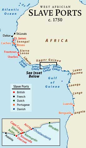 maps of Africa and the slave trade